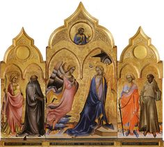 Annunciation Triptych, 1410–1415. Tempera on panel, 51 in × 91 in. Gallerie dell'Accademia, Florence. Commission: San Procolo, Florence. Two panels surmounted by cusps, a golden background. Virgin on throne, hovering Angel. Double mullioned window, Holy Ghost dove. Drapes: arabesque, International Gothic style introduced by Gherardo Starnina and Lorenzo Ghiberti.
