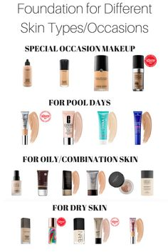 Sharing a ton of foundation suggestions for all skin types! No matter if you have dry skin, oily skin, combination skin or are just looking for a foundation for a special occasion-I've got all of the makeup tips and suggestions you need! Eyeliner, Mascara, Special Occasion Makeup, Make Up Braut, Beauty Hacks, Beauty Tips, Beauty Care, Makeup Yourself, Deodorant