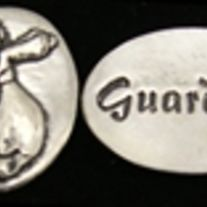 """What a unique reminder that we are always protected and watched over! make someone's day with this cute gift! Measures 3/4 inch by 1/2 inch and has the word """"Guardian"""" engraved on the back. Cast in pewter. Comes in a purple suede drawstring gift pouch. Only 2.95!"""
