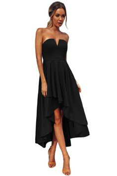 d8bbe2862e Black V Cut Strapless Party Cocktail Dress