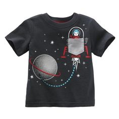 Jumping beans cotton kids baby infants boy short sleeve t-shirt outer space tee