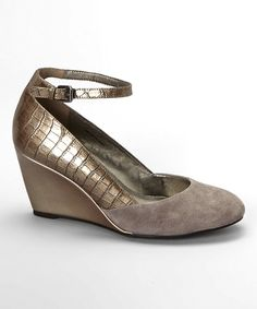 Pewter & Dark Gray Topical Suede Wedge