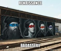 Funny pictures about Teenage Mutant Ninja Renaissance Artists. Oh, and cool pics about Teenage Mutant Ninja Renaissance Artists. Also, Teenage Mutant Ninja Renaissance Artists photos. 3d Street Art, Street Art Graffiti, Street Artists, Renaissance Portraits, Renaissance Artists, Renaissance Memes, Art Ninja, Turtle Painting, Teenage Mutant Ninja Turtles