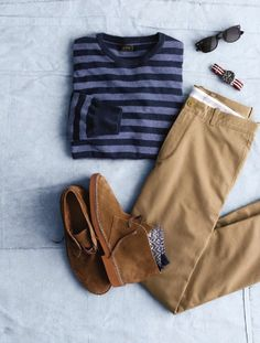 spring style! khakis - navy stripes - suede chukkas and your shades. MUST-HAVE