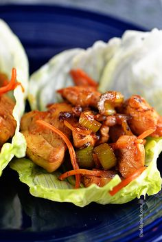Chicken Lettuce Wraps - A delicious low-carb lunch or supper! Such a satisfying favorite! // ©addapinch.com