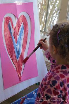 Hearts at the easel - Teach Preschool