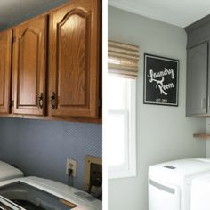 There are tons of fancy laundry room renovations out there if you have a big budget. Here's a pretty & realistic farmhouse laundry room for the rest of us! Diy Kitchen Cabinets, Painting Kitchen Cabinets, Kitchen Soffit, Gray Cabinets, Kitchen Redo, Kitchen Remodel, Kitchen Ideas, Home Renovation, Home Remodeling