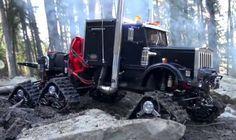 .Big rig on snow tracks.