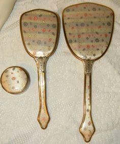 Vintage Vanity Dresser Set Brush Mirror by TimePassagesBoutique