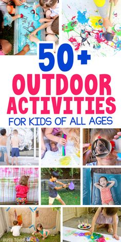 OUTDOOR ACTIVITIES FOR KIDS - Check out this awesome list of 50 activities for kids including arts and crafts stem water and ice and easy activities from Busy Toddler Outside Activities For Kids, Outdoor Activities For Toddlers, Outdoor Fun For Kids, Summer Activities For Kids, Summer Kids, Preschool Activities, Outdoor Games, Outdoor Play, Backyard Games