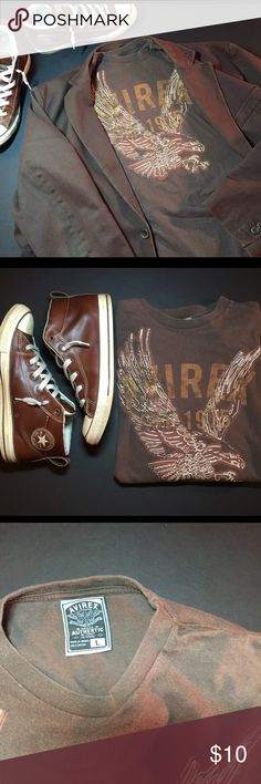 Avirex T-shirt L This one will fly away fast if you don't offer on it soon. Avirex birds of prey series t-shirt. Chocolate brown, embroidered design looks great with the denim jacket pictured or on it's own. No signs of wear. Jacket and shoes not for sale. Avirex Shirts Tees - Short Sleeve