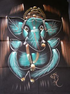 Wallhanging with Ganesha. Made by polyester and acrylic painting. Ganesh Art, Art Lessons, Drawings, Buddha Tattoo, Art Forms, Painting, Deities, Om Tattoo, Art