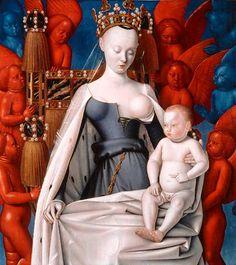 La Vierge et l'Enfant entourés d'anges    Tableau de Jean Fouquet, vers 1452-1455 (diptyque de Melun, volet droit)  Bois (chêne). Dimensions : 94,5 x 85,5 cm    Anvers, Koninklijk Museum voor Schone Kunsten, Inv. 132 © IRPA-KIK, Bruxelles
