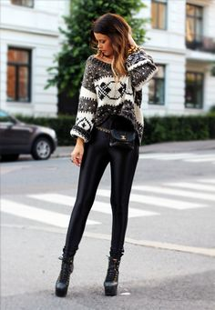 American Apparel disco pants & chunky knit