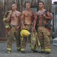Firemen!! my son & my nephew both are firemen/paramedics, & they are heroes! - as tough, buffed, smart, handsome (if not more so) than these guys. And most important - they are very kind, good people.