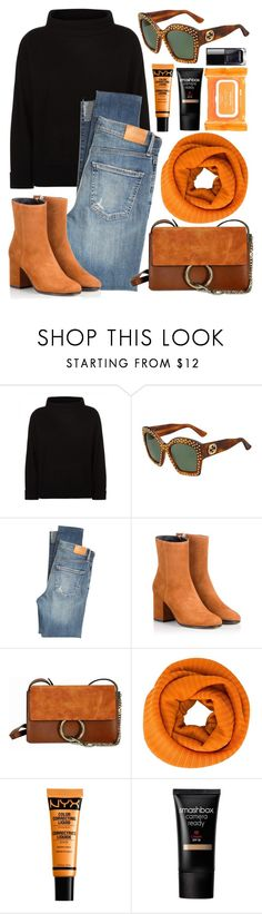 """""""Orange Hints"""" by smartbuyglasses ❤ liked on Polyvore featuring Jaeger, Gucci, Citizens of Humanity, Fratelli Karida, Chloé, Pleats Please by Issey Miyake, NYX, Smashbox, Ole Henriksen and black"""