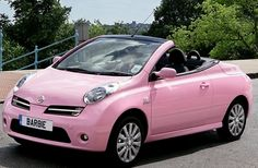 Girly Cars Every Women Will Love!: Cool Renault Pink Convertible – Girly Cars for Female Drivers! Love Pink Cars ♥ It's the dream car for every girl ALL THINGS PINK! Nissan March, Chevrolet Spark, Nissan Micra Cc, My Dream Car, Dream Cars, Cute Pink, Pretty In Pink, Perfect Pink, Tout Rose