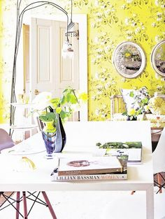yellow. white and black floral. modern and traditional all at once. silver mirrors. bright and happy and amazing yellow.