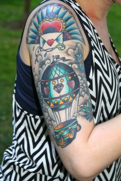 hot air balloon tattoo and envelope