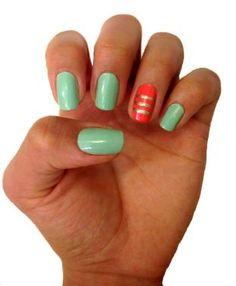Coral and Mint Nails - Uñas coral y menta