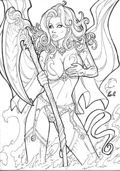 Sexy Lady by Luis Carlos - Ed Benes Studio Printable Adult Coloring Pages, Cute Coloring Pages, Coloring Books, Comic Book Girl, Fantasy Art Women, Ange Demon, Comic Drawing, Fantasy Kunst, Fantasy Artwork