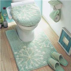 100% Cotton Snow Pattern Green 3-Pieces Toilet Seat Cover Sets