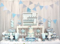 Baby Blue and Gray Elephant Baby Shower dessert table and candy bar
