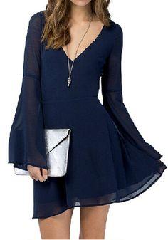 Navy Blue Plain Double-deck V-neck Bell Sleeve Chiffon Dress