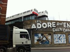 These disused tube trains in Shoreditch have been stacked up and used as offices :)
