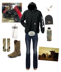 """Kawasaki Mule We Just Bought."" by kansascountrygirl ❤ liked on Polyvore featuring NIKE, Diesel, J.Crew, Carhartt and Justin Boots"