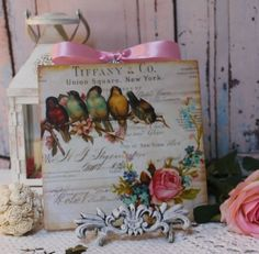 """Birds & Roses..."" Vintage Shabby Country Cottage Chic style Wall Decor. Sign  #Handmade #FrenchCountryVintage"
