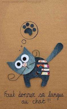 Faut donner sa langue au chat jeans recycle pint 2019 Faut donner sa langue au chat jeans recycle pint The post Faut donner sa langue au chat jeans recycle pint 2019 appeared first on Denim Diy. Jean Crafts, Denim Crafts, Fabric Crafts, Sewing Crafts, Paper Crafts, Craft Projects, Sewing Projects, Denim Art, Denim Ideas