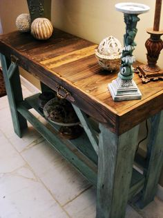 Handmade, trendy, sofa | entry table made from reclaimed pallets. Join the pallet furniture trend. <3 eco-friendly pallet tables. #reclaimed.