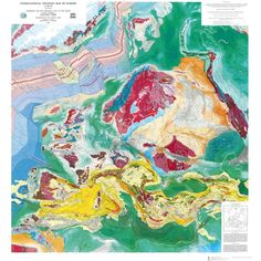 Tectonic Map of Europe by CGMW/UNESCO #map #europe #geology