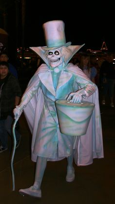 Somebody tried to go as the Hat Box Ghost for Disneylands halloween party, but I've heard that he had to be turned away for being too scary looking.