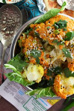 Gobi Musallam | 1 whole cauliflower, leaves removed but root left on, rubbed with salt, turmeric and 25g softened butter 100g peas (I use frozen) 50g butter 150g fresh tomatoes, pureed 1 tbsp concentrated tomato paste 240ml milk For the spice paste: 1 onions peeled,chopped 2 green chillies 12 cashew nuts 1 clove garlic 1 inch piece ginger 1 inch cinnamon stick 2 cloves ½ tsp nutmeg 6 green cardamom pods, husks removed 4 tbsp natural yoghurt 2 tsp salt Fresh coriander leaves,coconut,kalonji…