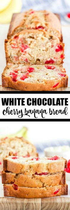 White Chocolate Cherry Banana Bread - This is a great twist on traditional banana bread - chocked full of maraschino cherries and white chocolate. If you added in some nuts and milk chocolate, it would taste just like a banana split! Banana Dessert Recipes, Banana Bread Recipes, Chocolate Cherry, White Chocolate, Banana Nut Bread, Corn Bread, Maraschino Cherries, Banana Split, Cupcake Cakes