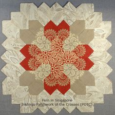 Inklingo Patchwork of the Crosses by Fern - NOT with English Paper Piecing - Sewing line printed with Inklingo