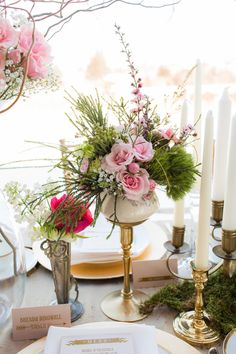 tall florals + candles // photo by Emily Crall Photography