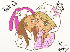 Cute drawings | This one is from Macarena! Is Rosie and I with our Kigurumi *___*