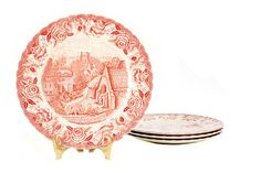 Vintage Red British Anchor English Country Scenes Dinner Plate // Transferware // Replacement Piece