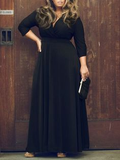 Black V Neck 3/4 Sleeve Plus Size Skater Maxi Dress