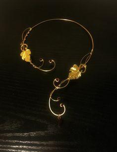Medieval Renaissance circlet choker gold red by ElvenstarDesign