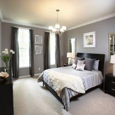 Dreamy Blue Grey Walls With Dark Furniture Bedroom