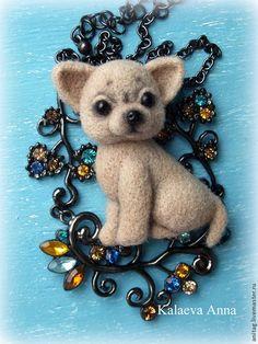 Купить Чихуахуа брошь - бежевый, чихуахуа, щенок, щенок из шерсти, собачка брошь, купить подарок