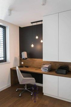 a home office nook is visually separated from the . a home office nook is visually separated from the rest of the space with a black statement wall – Home Office Table, Office Nook, Home Office Storage, Home Office Space, Home Office Design, Home Office Decor, Home Design, Office Ideas, Office Designs