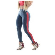 New Fashion Stripe Sport Patchwork Gym High Wasited Neon Leggings Fitness leggings Candy Elastic Sports Pants Big Size