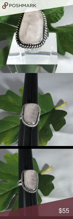 Pink Quartz Freeform Sterling Silver Ring A-11-80 Gorgeous Freeform Pink Quartz  Cabochon Set in a .925 Sterling Silver Ring. A one of a kind, handmade creation. HM Simon Creation Jewelry Rings