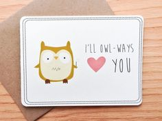 Hubert the Owl Love Card Valentine's Day Puns Funny by LeTrango, $4.00