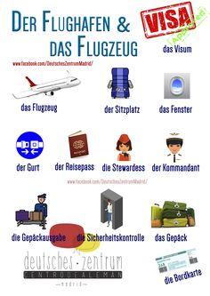 Flughafen  Deutsch Wortschatz Grammatik German DAF Vocabulario Alemán